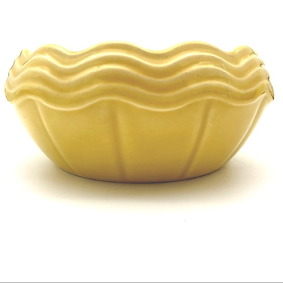 Vintage Yellow Ribbed McCoy Art Pottery Planter